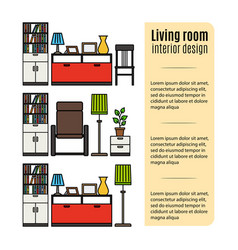 furniture for living room infographic vector image vector image