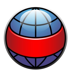 globe label with red ribbon vector image vector image