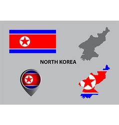 Map of North Korea and symbol vector image vector image