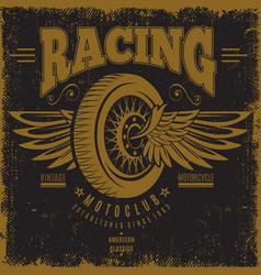vintage moto club poster vector image vector image