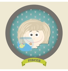 Zodiac signs collectionCute horoscope - PISCES vector image