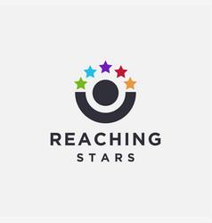 abstract human reaching star logo icon vector image