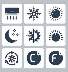 air conditioning and conditioner related icon vector image