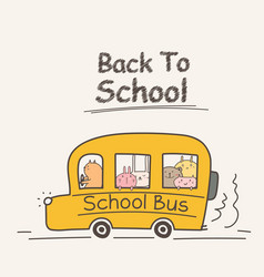 back to school concept with school bus vector image