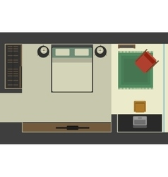 Bedroom in flat style top view vector image