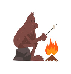 Bigfoot sitting on stone near campfire and vector