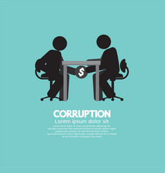 Black symbol of two men in corruption concept vector