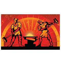Blacksmiths forge metal vector