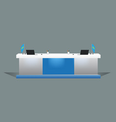 blank white reception or exhibition table desk vector image