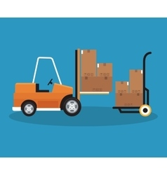 Box and forklift of delivery concept design vector