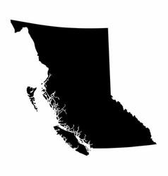 British columbia province dark silhouette map vector