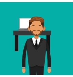 businessman with office related items vector image