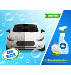 Car wash system advertisement vector