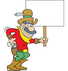 cartoon cowboy holding a sign vector image
