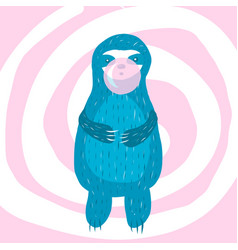 cartoon cute blue sloth inflates vector image