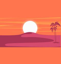 Cartoon desert landscape in flat style design vector