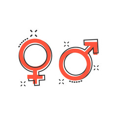 cartoon gender icon in comic style men and women vector image