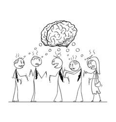 cartoon of team of five undead zombie businessmen vector image