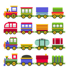 cartoon style colortoy railroad train set vector image