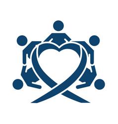 Children holding hands around heart silhouette vector