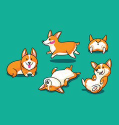 Collection of cute cartoon dogs breed welsh corgi vector