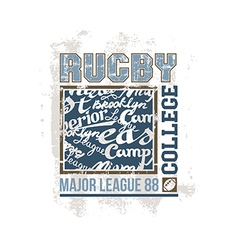 College print rugby team vector image