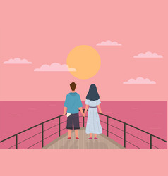 couple and sunset happy man and woman vector image