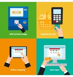 Credit plastic card usage vector