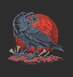 crow bird in dark night vector image