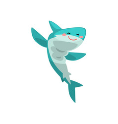 cute blue shark cartoon character jumping vector image
