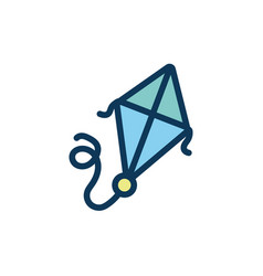 Cute kite flying child toy fill style icon vector