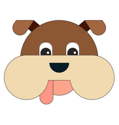 dog head in cartoon flat style vector image