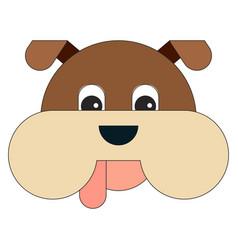 dog head in cartoon flat style vector image