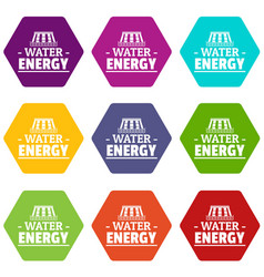 drop water energy icons set 9 vector image