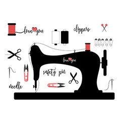 Elements for sewing isolated on white background vector image