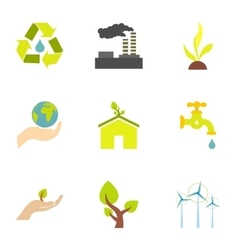 Energy icons set flat style vector