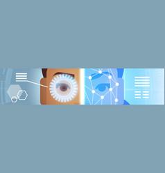 Eye retina scanning horizontal banner biometric vector