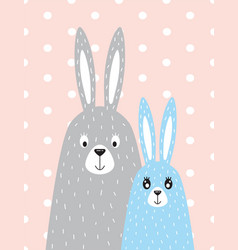 Family of rabbits in the scandinavian style vector