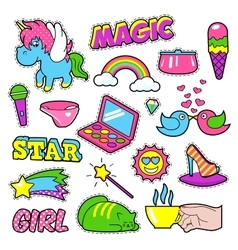 Fashion Girls Badges Patches Stickers - Rainbow vector image