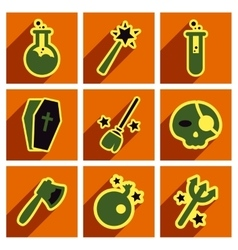 Flat with shadow concept halloween icons vector