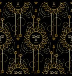 Gold sun modern seamless pattern vector