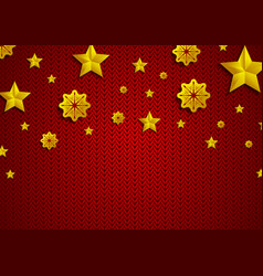 Golden stars and snowflakes on red knitted vector