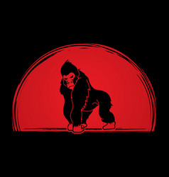 Gorilla king kong angry big monkey graphic vect vector