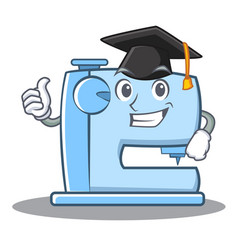 Graduation sewing machine emoticon character vector
