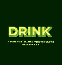 Green 3d font style effect design templates vector