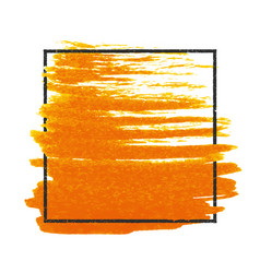 Grunge stamped rectangle frame on orange brush vector
