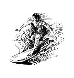 hand sketch a surfer vector image