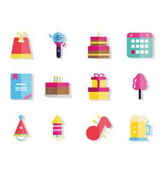 happy birthday celebration decoration icons set vector image