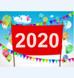 happy new year 2020 red banner vector image