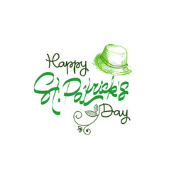 happy patrick day vintage lettering greeting card vector image